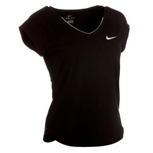 NIKE T-Shirt Pure Tennisshirt Damen schwarz, Größe: XS
