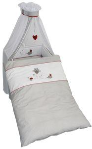Roba - Kinderbett-Garnitur - Adam und Eule - bestickt - 4-teilig
