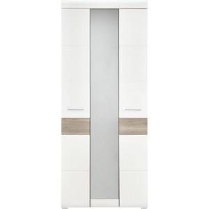 Garderobenschrank in Silbereiche/Weiß