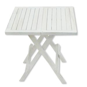 Teak-Tisch quadratisch weiß