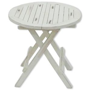 Teak-Tisch rund weiß