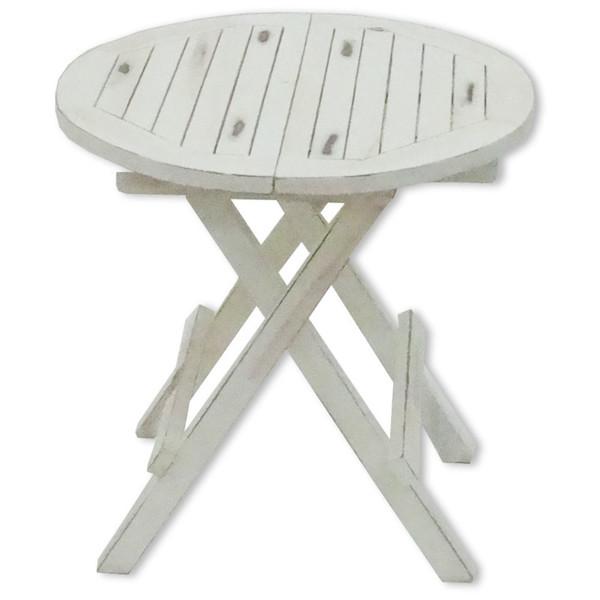 Teak Tisch Rund Weiß