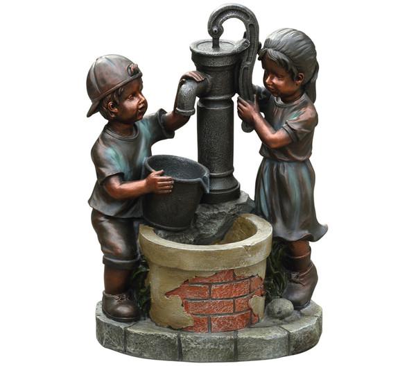 Dehner Polyresin-Gartenbrunnen Kim & Tim, 45 x 29,4 x 61,2 ...