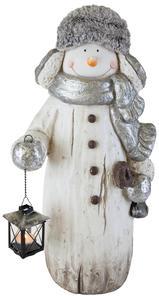 Schneemann mit Laterne - aus Magnesia - 31x29x59 cm