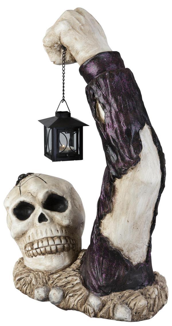 Deko-Skelett - aus Magnesia - mit Metalllaterne - 33x19x50 cm