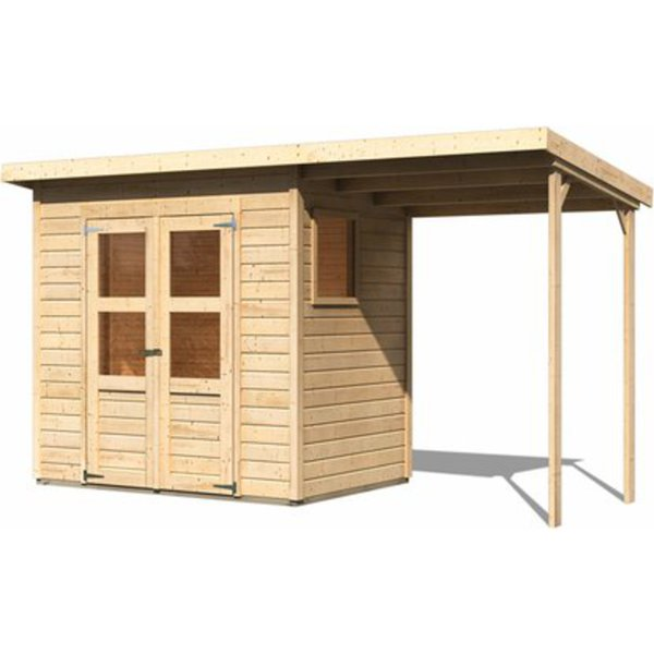 holz gartenhaus neuenburg 1 natur 370 x 150 cm mit anbau. Black Bedroom Furniture Sets. Home Design Ideas
