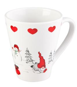 Weihnachtsbecher aus Porzellan, Wichtel auf Ski