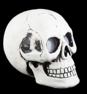Totenkopf weiß mit LED Licht, Maße: 20 x 14 x 16 cm