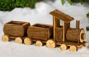 Dekozug aus Holz mit 2 Wagons