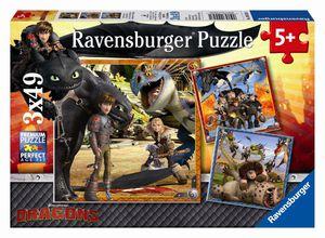 Dragons - Puzzle - Drachenreiter - 3 x 49 Teile - Ravensburger