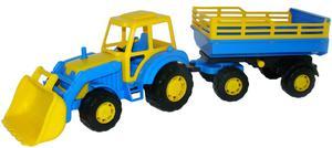Traktor mit Frontlader und Anhänger blau/gelb oder grün/gelb