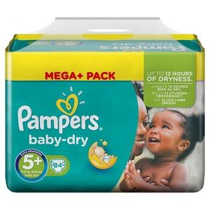 Pampers - Windeln Mega Pack Baby Dry Junior, Gr. 5+ (84 Stück)