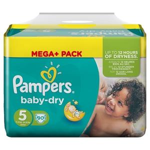 Pampers - Windeln Mega Pack Baby Dry Junior, Gr. 5 (90 Stück)