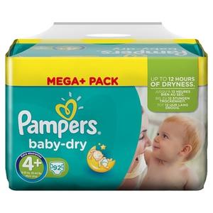 Pampers - Windeln Mega Pack Baby Dry Maxi, Gr. 4+ (92 Stück)