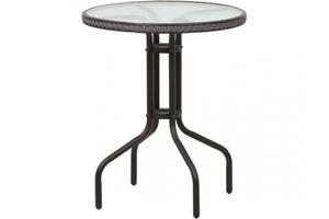 TrendLine Tisch Venezia silber mit Kunststoffgeflecht