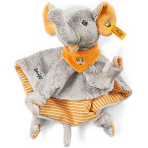 Steiff Trampili Elefant Schmusetuch, grau/orange, 24 cm