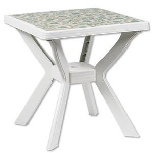 Gartentisch »Nilo« weiß 70 x 70 cm mit Mosaikmuster