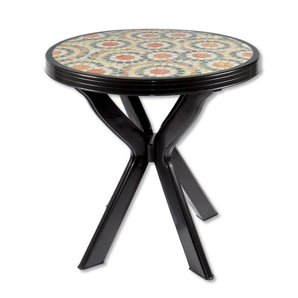 Gartentisch Don Rund Anthrazit O 70 Cm Mit Mosaikmuster Von Jawoll