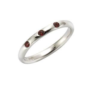 Jamelli Ring 925/- Sterling Silber rhodiniert Granat, 56