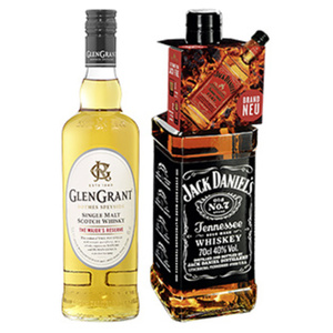 Jack Daniels Tennessee Whiskey, Honey oder Glen Grant Single Malt Scotch Whisky 40/35/40 % Vol.,  jede 0,7-l-Flasche
