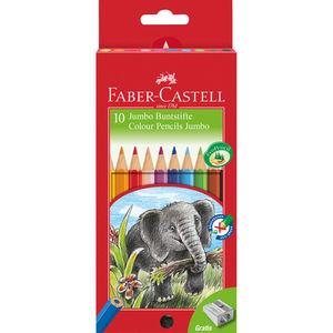 Faber Castell 10er-Set Buntstifte Jumbo + Spitzer