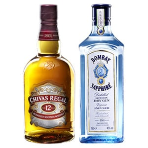 Bombay Sapphire London Dry Gin oder Chivas Regal Scotch Whisky 40/40 % Vol., jede 0,7-l-Flasche
