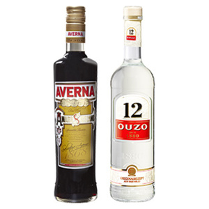 Averna Amaro oder Ouzo 12, Hierbos, Gold 29/38/28/36 %  Vol., jede 0,7-l-Flasche