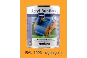 Primaster Acryl Buntlack signalgelb seidenmatt, 750 ml