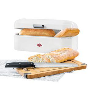 WESCO Brotkasten 3 teilig GRANDY Weiß mit Messer und Schneidebrett