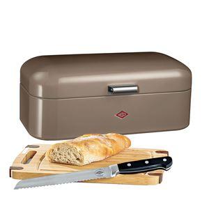WESCO Brotkasten 3 teilig GRANDY Warmgrau mit Messer und Schneidebrett