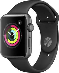 Apple Watch Series 2 42 mm Aluminiumgehäuse Spacegrau Sportarmband Schwarz