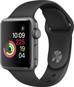 Apple Watch Series 2 38 mm Aluminiumgehäuse Spacegrau Sportarmband Schwarz
