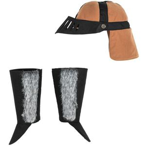 Drachenreiter-Hut + Stulpen, 3-teilig