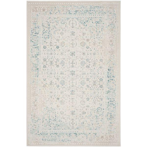 Teppich Flora I Kunstfaser Hellbeige Blau 121 X 170 Cm