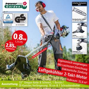 Powertec Garden PGT 3in1 -2 Freischneider-, Grastrimmer-, Hochentaster-Kombigerät