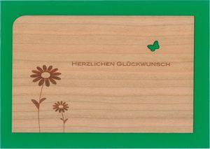 Holzpost Post- & Grußkarten Set 4-tlg. 14x9 cm - Je 1 x Danke, Erster, Geburtstag & Glück