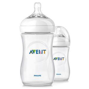 PHILIPS AVENT   2er-Pack Anti-Kolik-Weithals-Flasche Naturnah, SCF693/27, 260 ml, Kunststoff, ab 1M transparent