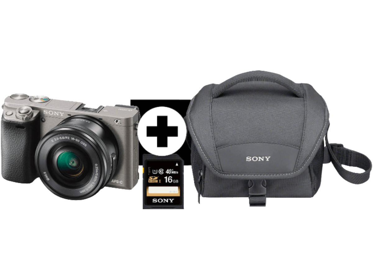 Bild 1 von SONY Alpha 6000 LH Kit Systemkamera, 24.3 Megapixel, Full HD, Exmor APS-C Sensor, Externer Blitzschuh, Near Field Communication, 16-50 mm Objektiv, Autofokus, Grau