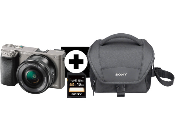 SONY Alpha 6000 LH Kit Systemkamera, 24.3 Megapixel, Full HD, Exmor APS-C Sensor, Externer Blitzschuh, Near Field Communication, 16-50 mm Objektiv, Autofokus, Grau