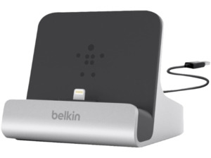 BELKIN Lightning-Dock, mit festem 1.2m USB-Kabel, Laden & Sync, 2.1A, silber, Dockingstation