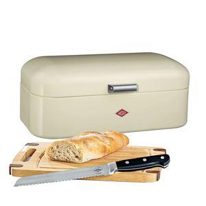 WESCO Brotkasten 3 teilig GRANDY Mandelbeige mit Messer und Schneidebrett