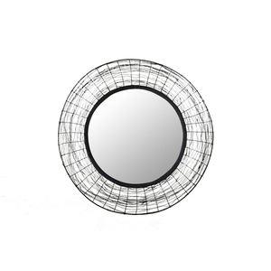 Spiegel Schwarz Rahmen geflochten Ø ca. 90 cm