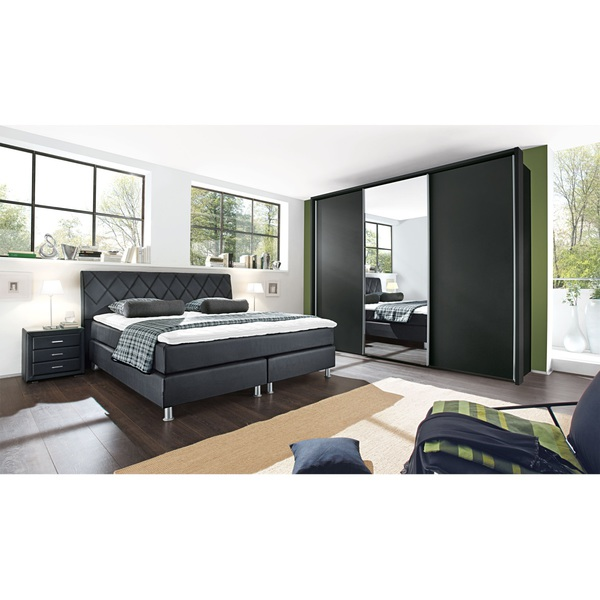 bugatti bett lederlook schwarz ca 180 x 200 cm taschenfederkern h2 von porta m bel f r. Black Bedroom Furniture Sets. Home Design Ideas