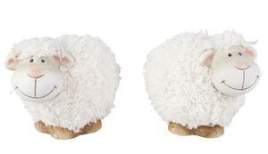 Terrakotta Schaf mit Fell - klein - Maße: 12,5 x 7 x 10,5 cm