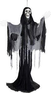 Skelett zum Hängen - mit schwarz/grauen Stofffetzen und Kette - 210 cm