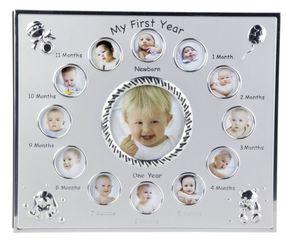 Alu Bilderrahmen - Baby`s erstes Jahr - runde Öffnungen