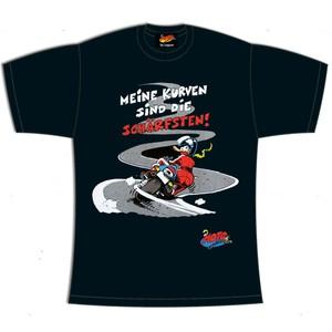"MOTOmania Damen T-Shirt ""Kurven"", schwarz"