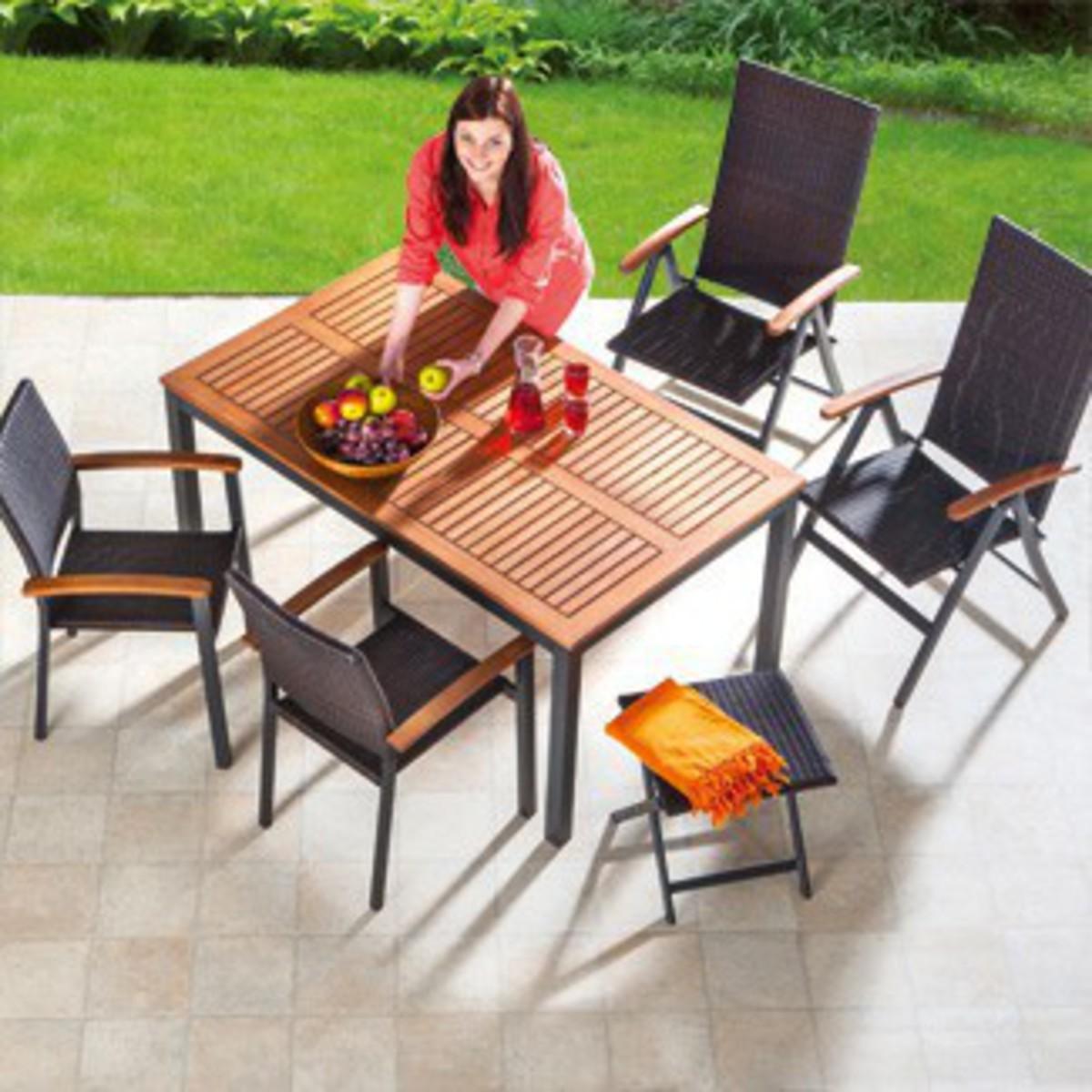 """Bild 3 von Solax-Sunshine Alu-Gartentisch mit Holzplatte """"Genua"""""""