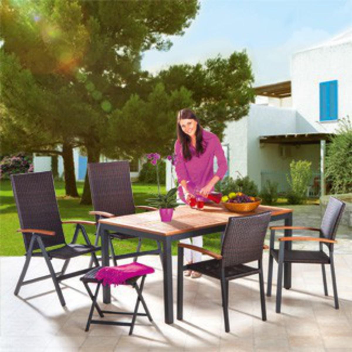 """Bild 4 von Solax-Sunshine Alu-Gartentisch mit Holzplatte """"Genua"""""""