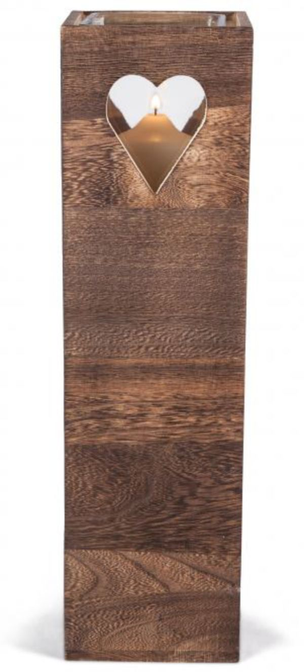 kerzenständer - aus holz - 12 x 12 x 44,5 cm von rofu für 12,99